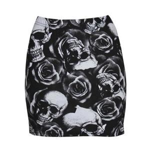 Minifalda Calaveras Y Rosas